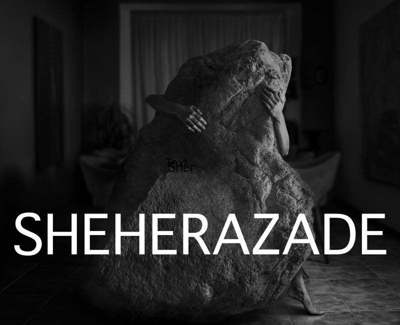 zwart wit beeld van een vrouw die een lichaamsgrote steen tegenhoudt danwel knuffelt