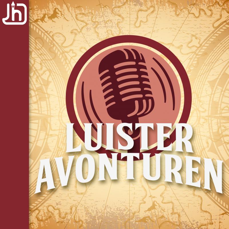 Podcast artwork van Luisteravontuern. Een grote microfoon in een rood rondje tegen een beige achtergrond. Luisteravonturen staat er groot in