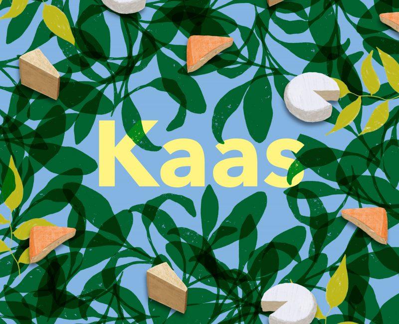 Artwork van Kaas. Je ziet de titel in geel met allemaal kaasjes er omheen die op bladeren liggen.
