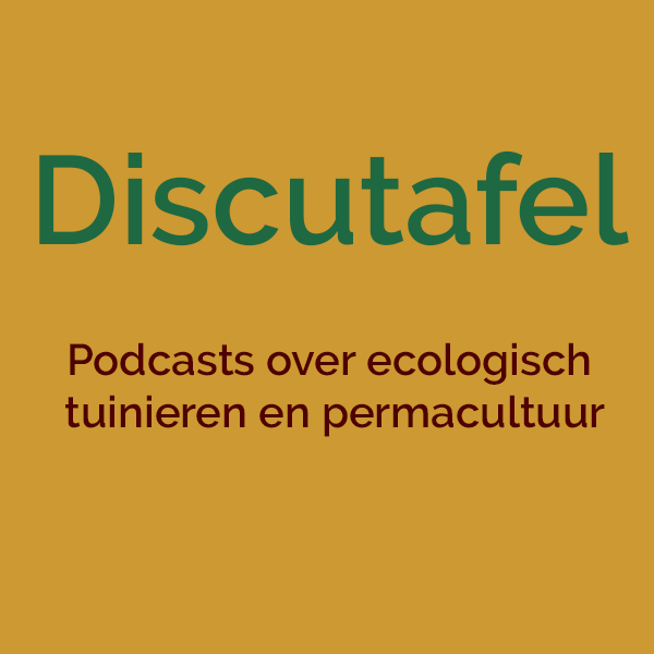 Discutafel artwork, groen logo tegen een gele achtergornd