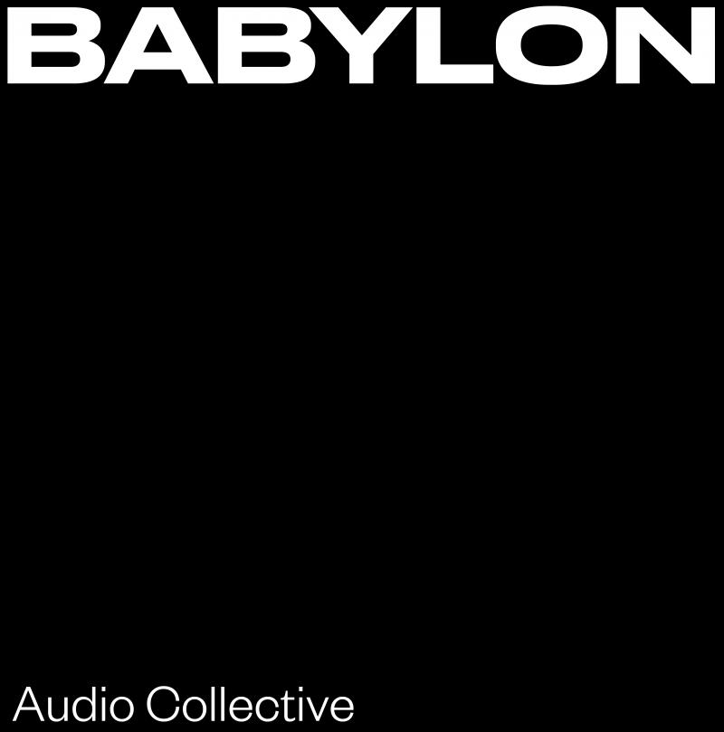 Artwork van Babylon audio collective. Een zwart vlak met in witte letters bovenaan BABYLON en onderaan Audio Collective
