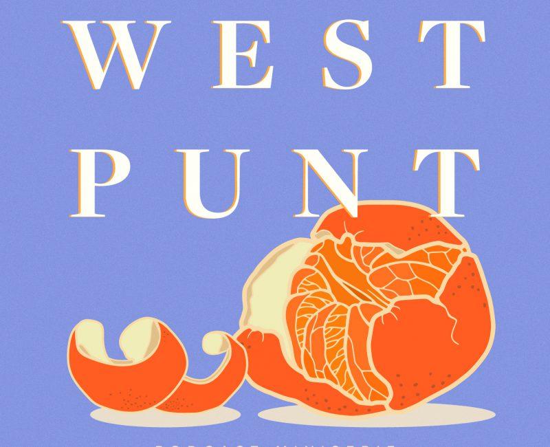 Podcast artwork van Westpunt. Lila achtergrond met witte titel, je ziet een getekende gepelde mandarijn op de voorgrond