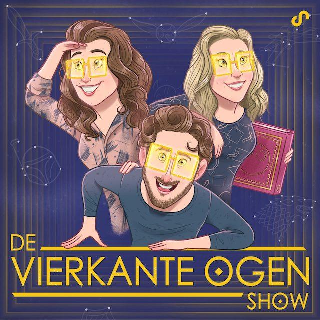 podcast artwork vierkante ogen show. Je ziet een brunette, blond meisje en een jongen met bruin gekruld haar zoals op een filmposter. Ze hebben allemaal een gele 'vierkante' bril op. De titel staat onderaan in goud, de achtergond is blauw. Het meisje rechts houdt een boek vast.