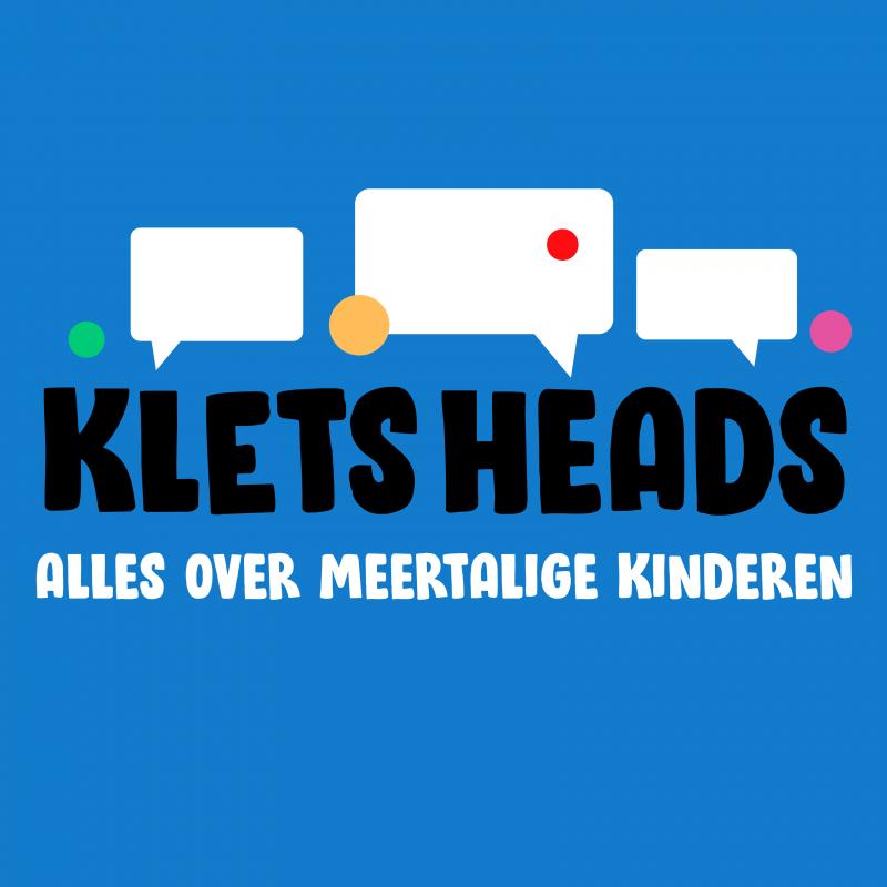 Blauw logo van Kletsheads alles over meertalige kinderen