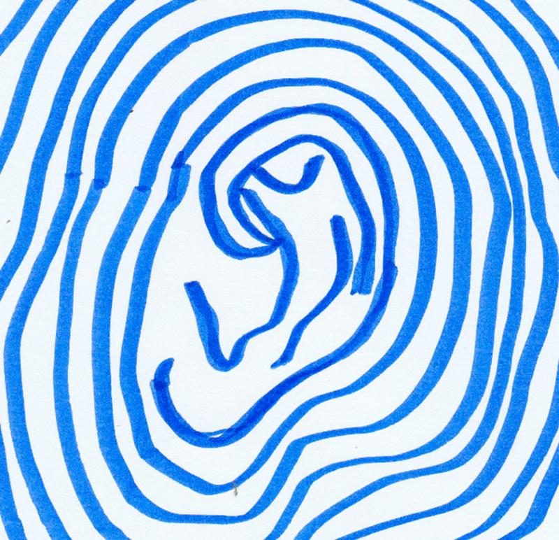 Oorwerkers logo, je ziet een geschilderd oor met daaromheen cirkels in blauw, de achtergrond is wit