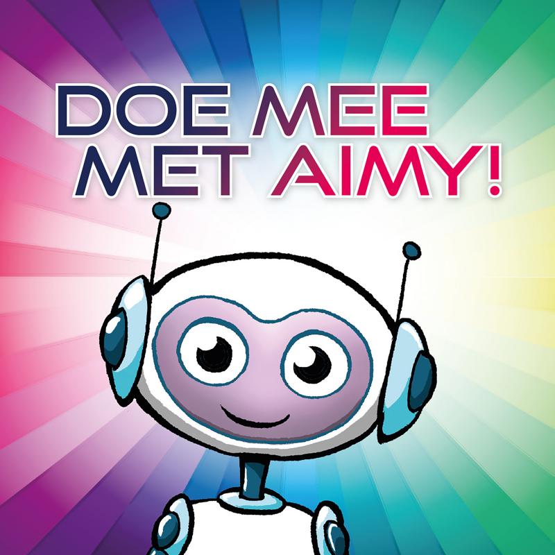 Tegen een kleurige achtergrond zie je een getekend robotje met grote oren en ogen en de titel Doe mee met aimy