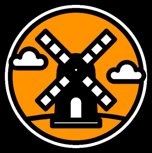 tegen een achtergrond van een oranje cirkel zie een molen getekend in zwart wit en twee wolkjes in de lucht