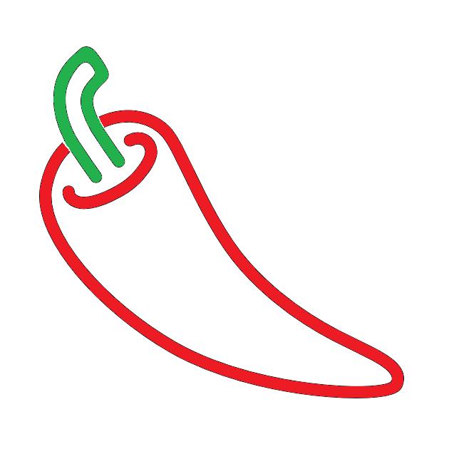 tekening van de contouren van een rode peper met een groen steeltje tegen een witte achtergrond